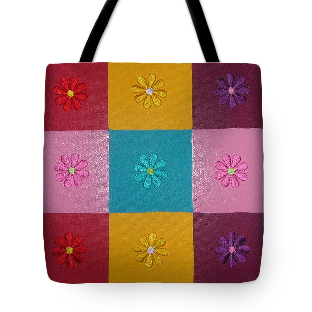 Fabric Flowers On Multi Colored Squares Tote Bag featuring the painting Flower Power by Gay Dallek