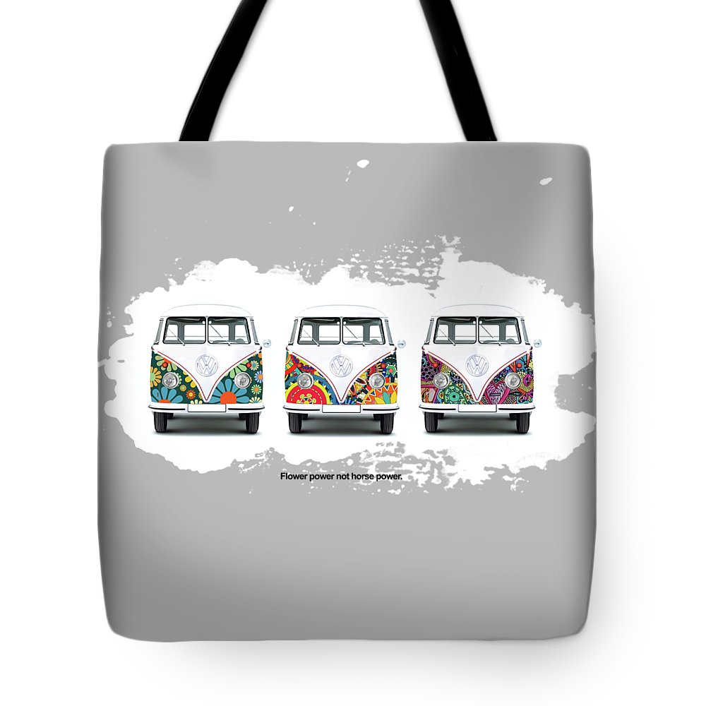 Vw Tote Bag featuring the photograph Flower Power Vw by Mark Rogan