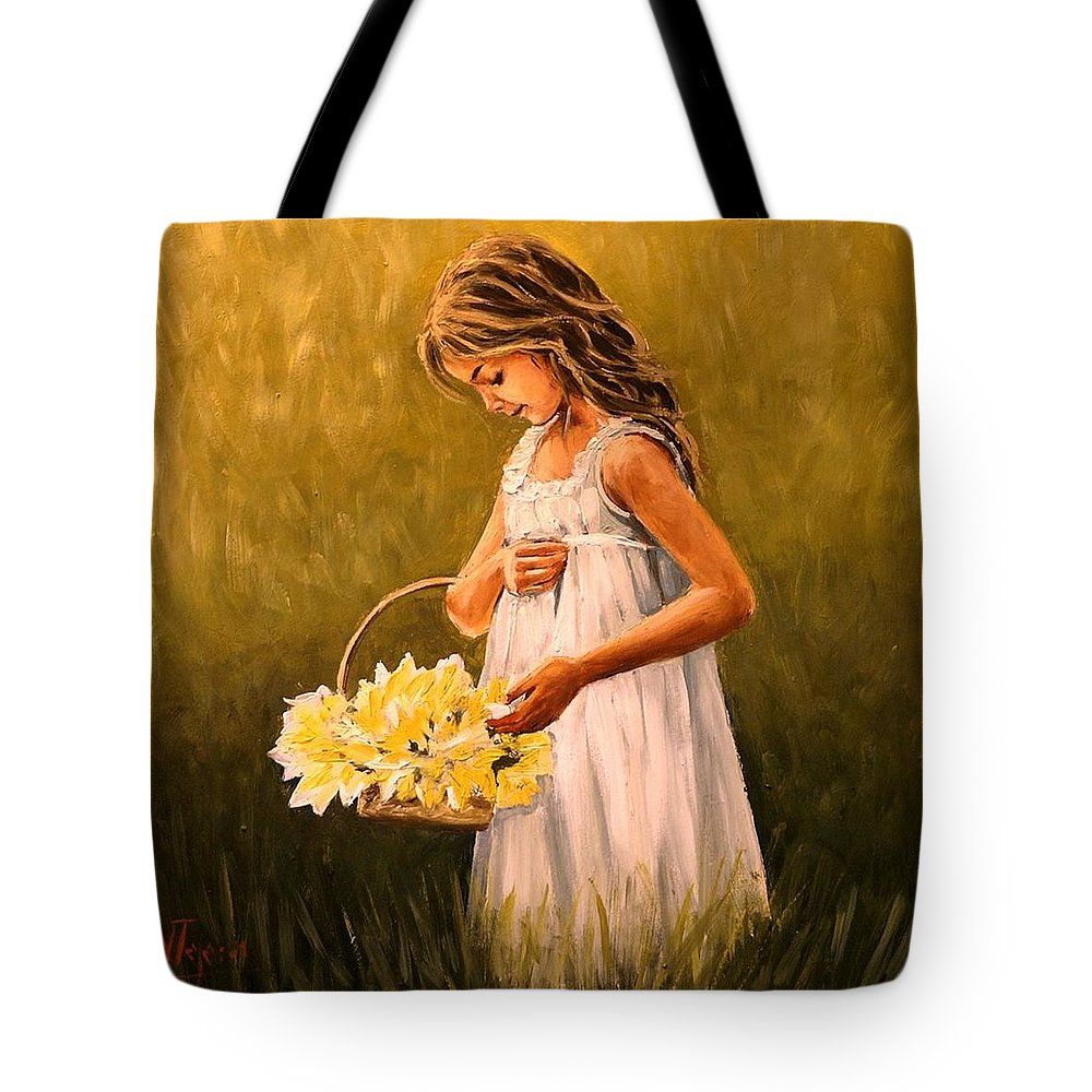 Girl Tote Bag featuring the painting Flower S Basket by Natalia Tejera