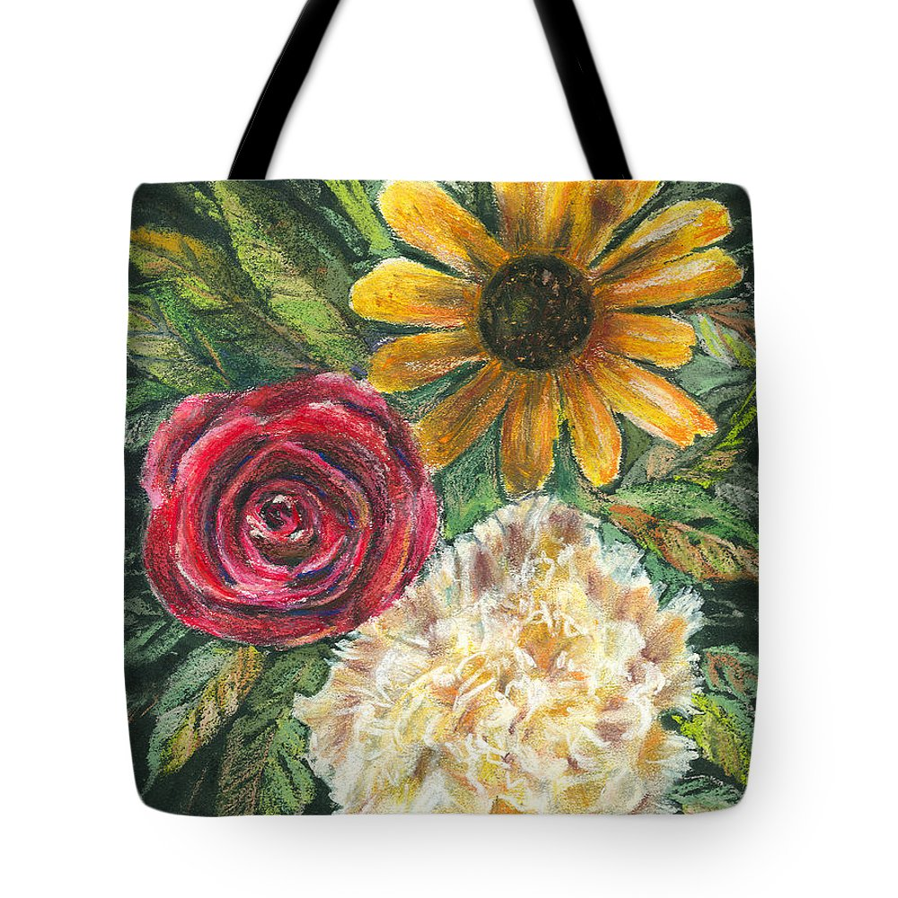 Flower Tote Bag featuring the pastel Flower Trio by Arline Wagner