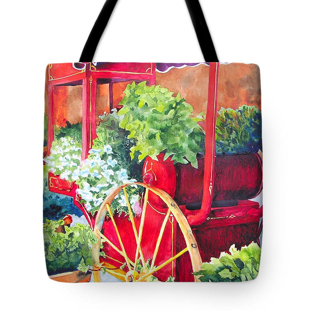 Floral Tote Bag featuring the painting Flower Wagon by Karen Stark