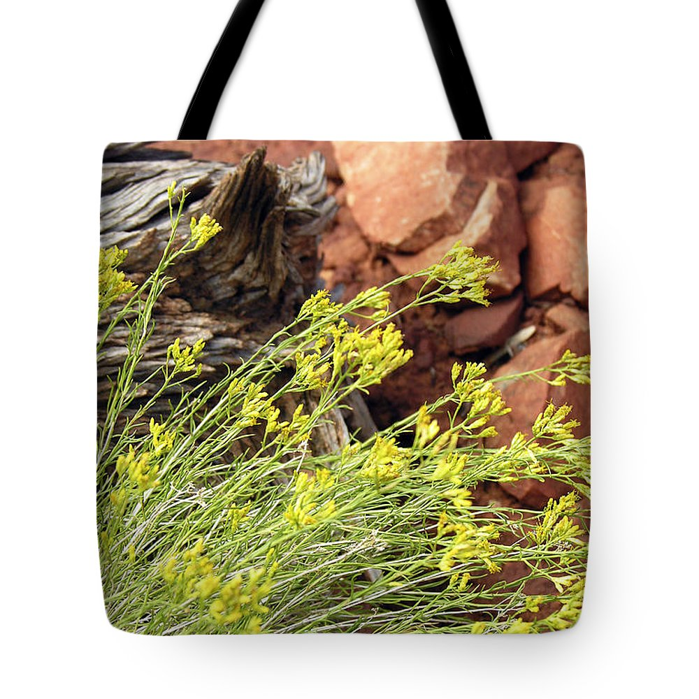 Flower Tote Bag featuring the photograph Flower Wood And Rock by Marilyn Hunt
