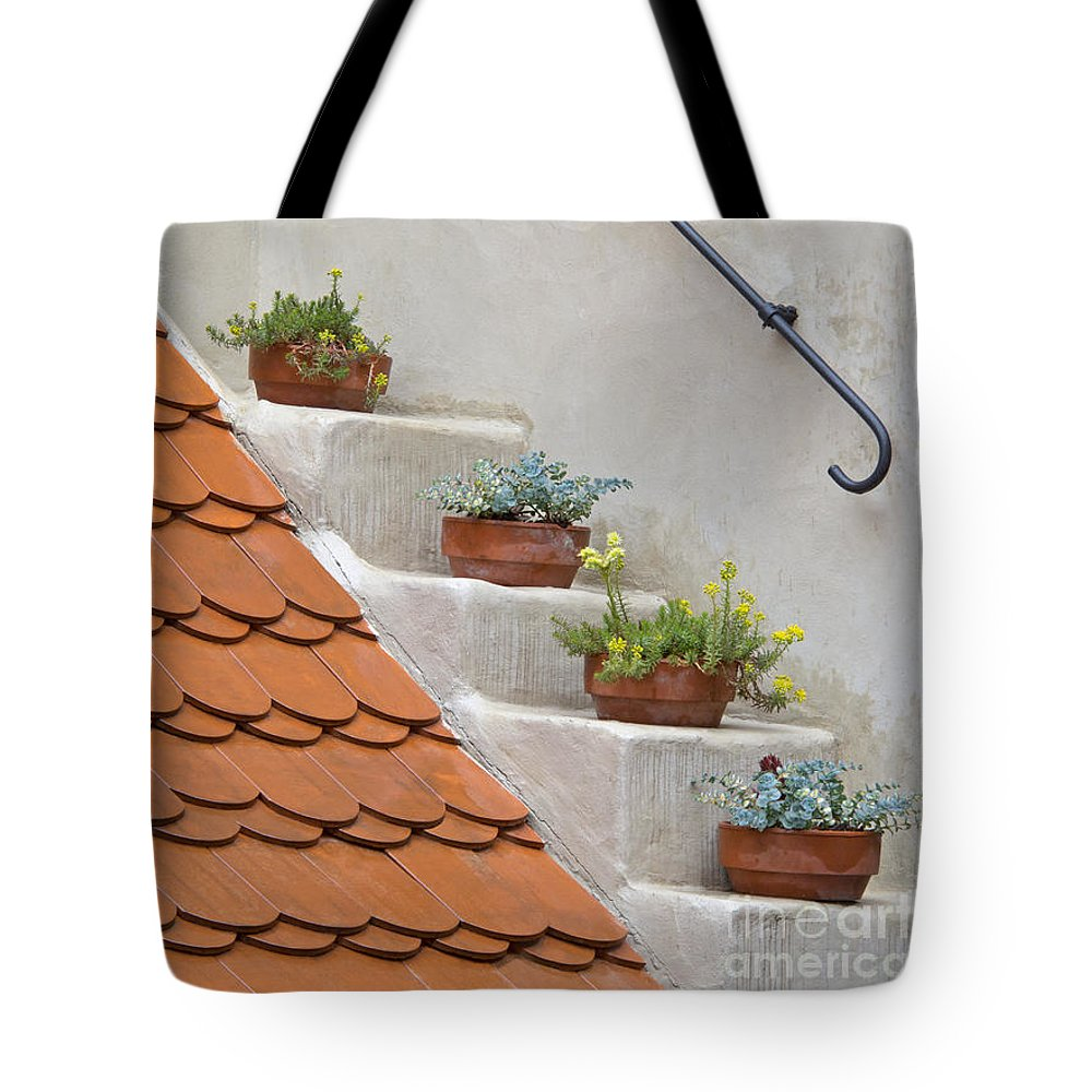 Prague Tote Bag featuring the photograph Flowerpots Ascending by Ann Horn