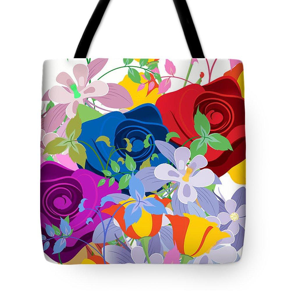 Flowers 7 Tote Bag featuring the digital art Flowers 7 by Tari Valadez