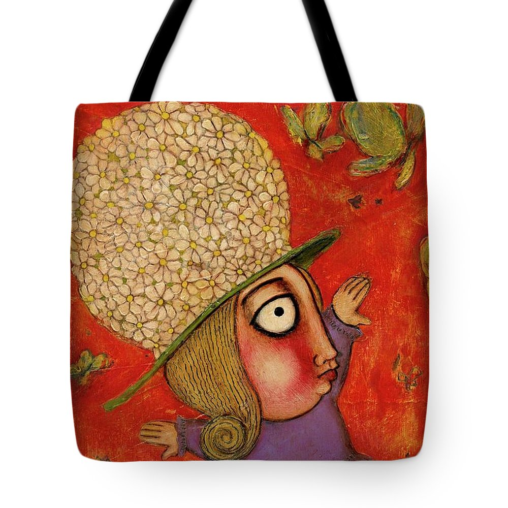 Acrylics Tote Bag featuring the painting Flowers And Butterflies by Jorgelina Militon
