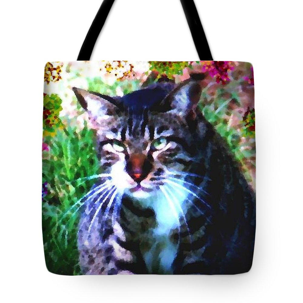 Cat Grey Attention Grass Flowers Nature Animals View Tote Bag featuring the digital art Flowers And Cat by Dr Loifer Vladimir