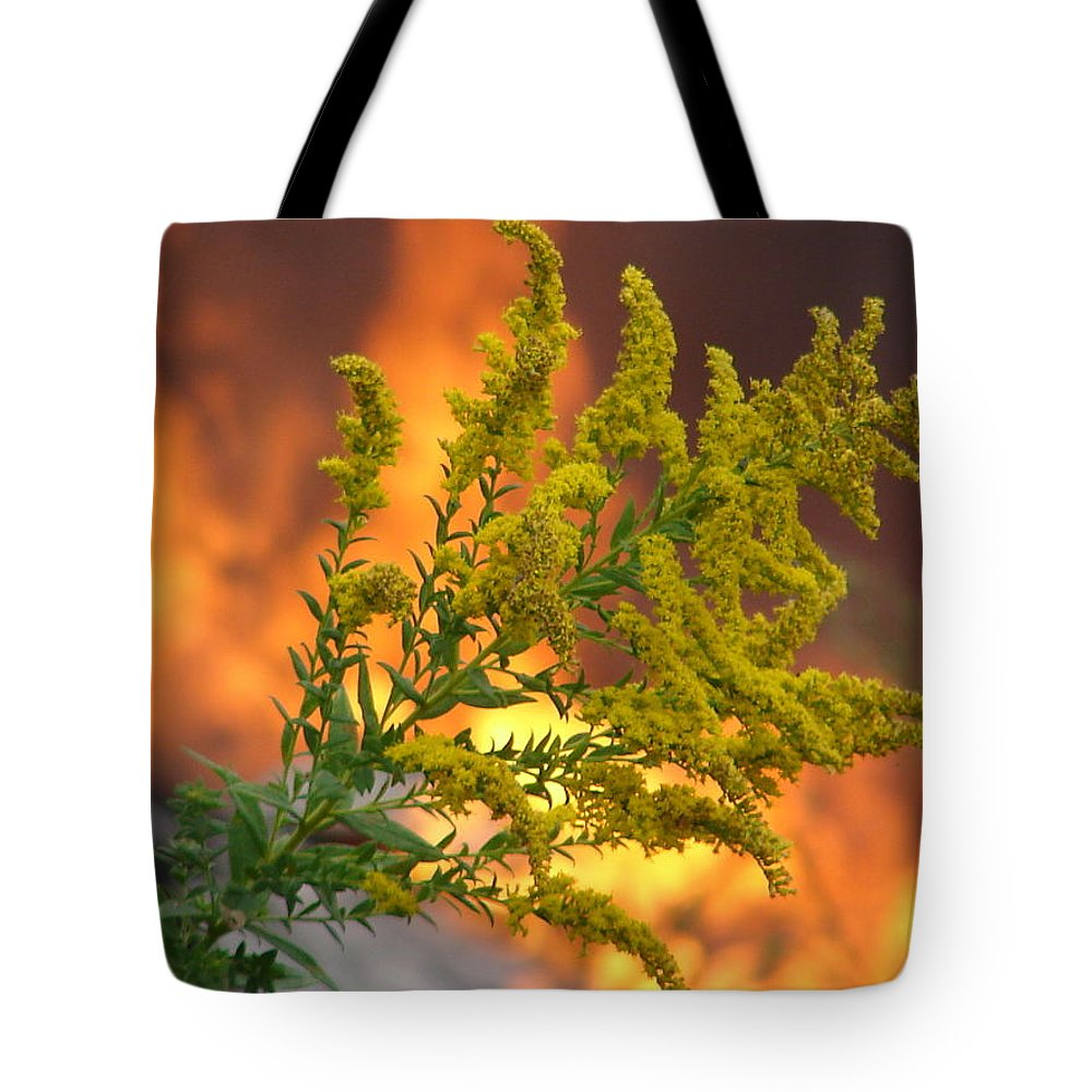 Flower Fire Flame Tote Bag featuring the photograph Flowers And Flames by Luciana Seymour