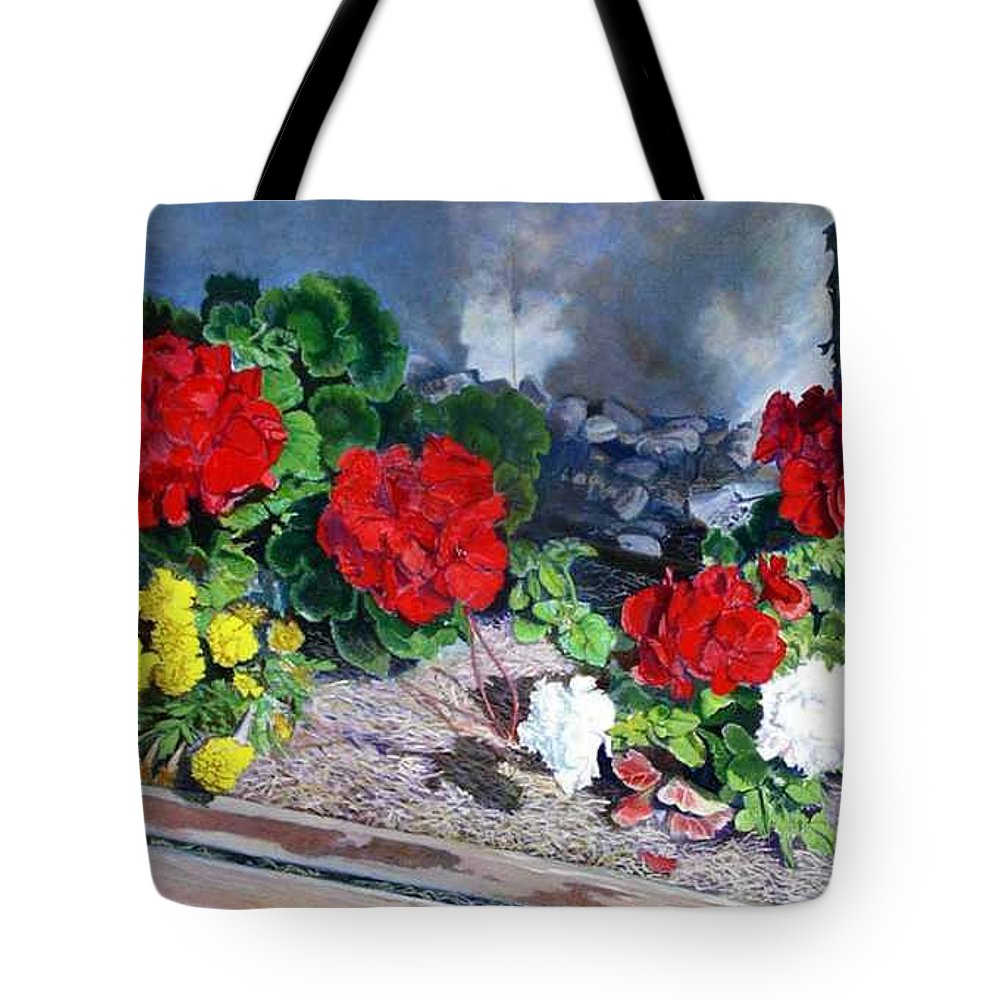 Colorful Flowers Outside Of The Church Tote Bag featuring the painting Flowers At Church by Scott Robertson
