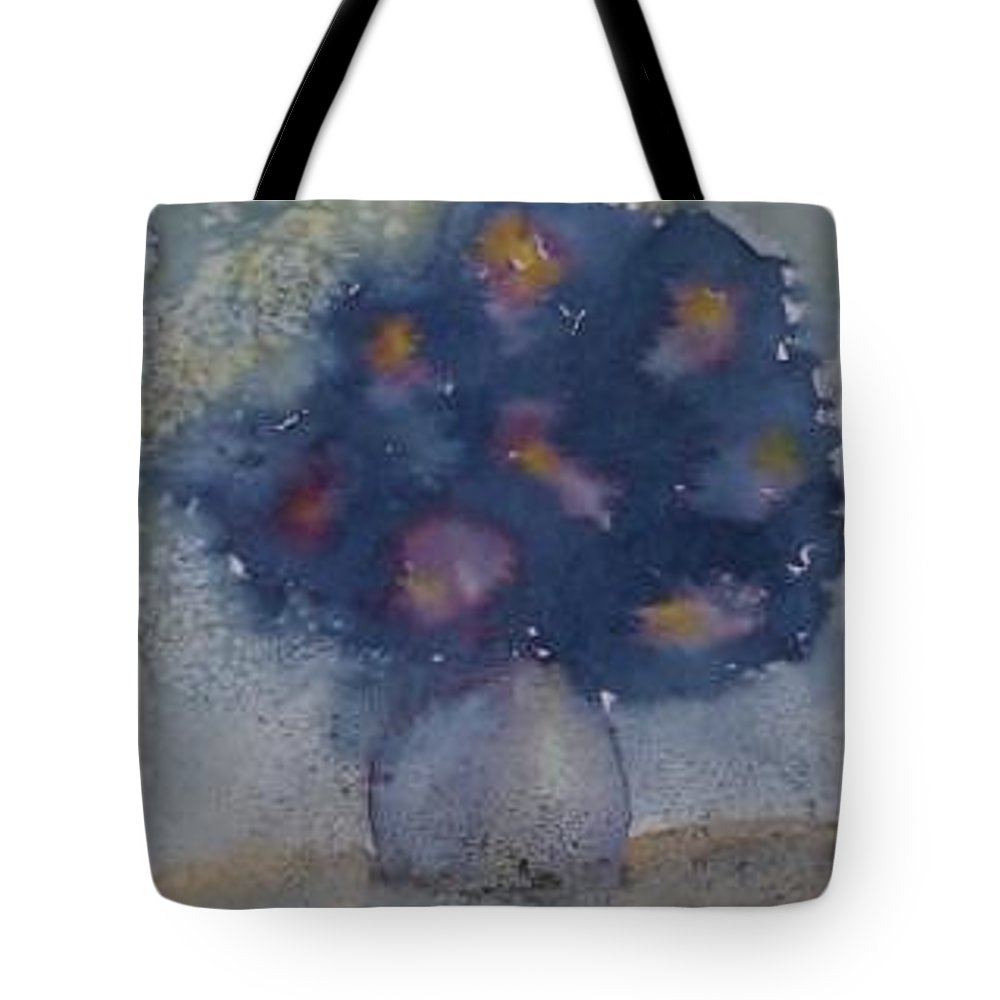 Watercolor Tote Bag featuring the painting FLOWERS AT NIGHT original abstract gothic surreal art by Derek Mccrea