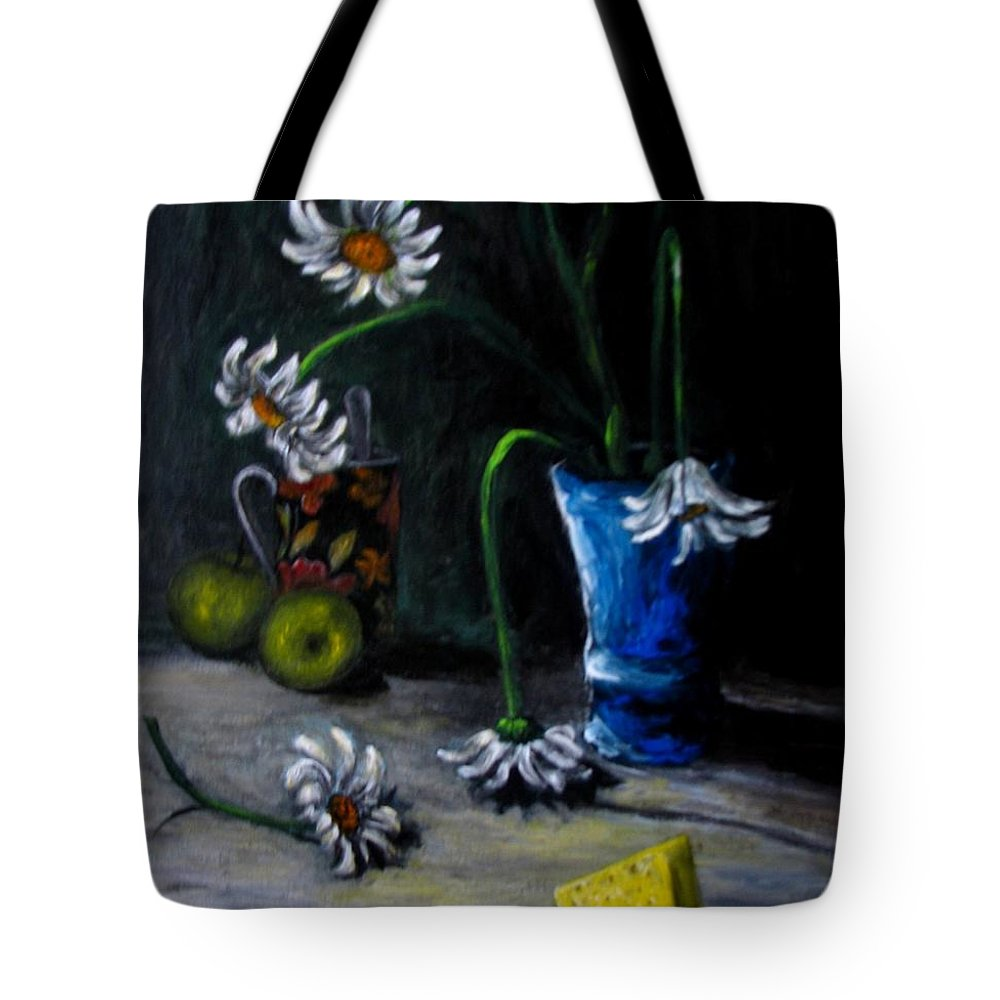 Flower Tote Bag featuring the painting Flowers Camomiles Still Life Acrylic Painting by Natalja Picugina