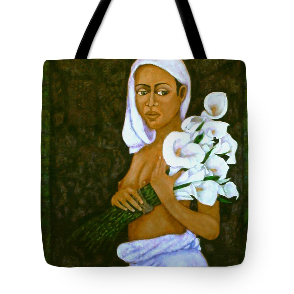 Love Tote Bag featuring the painting Flowers For An Old Love by Madalena Lobao-Tello