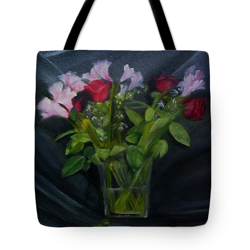 Flowers Tote Bag featuring the painting Flowers For Sarah by Sheila Mashaw