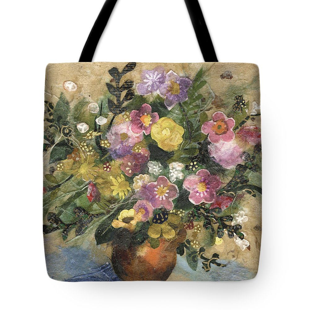 Limited Edition Prints Tote Bag featuring the painting Flowers In A Clay Vase by Nira Schwartz