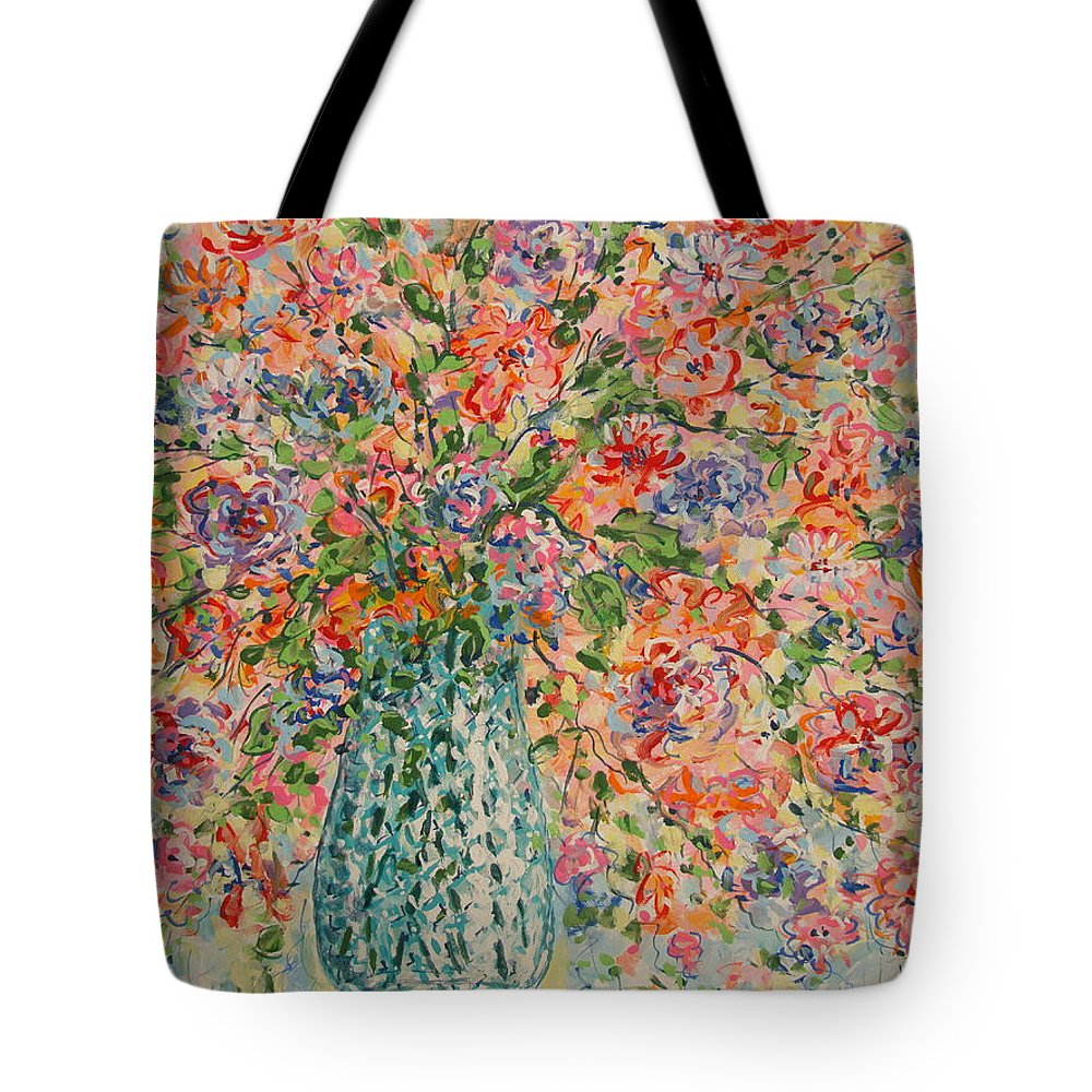 Flowers Tote Bag featuring the painting Flowers In Crystal Vase. by Leonard Holland