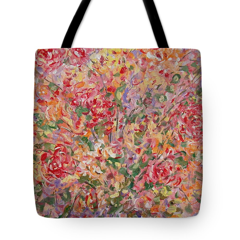 Flowers Tote Bag featuring the painting Flowers In Purple Vase. by Leonard Holland