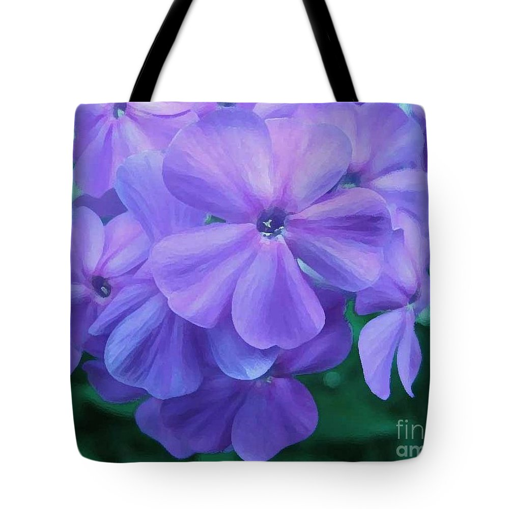 Purple Flowers Artwork Tote Bag featuring the photograph Flowers In The Garden by Reb Frost