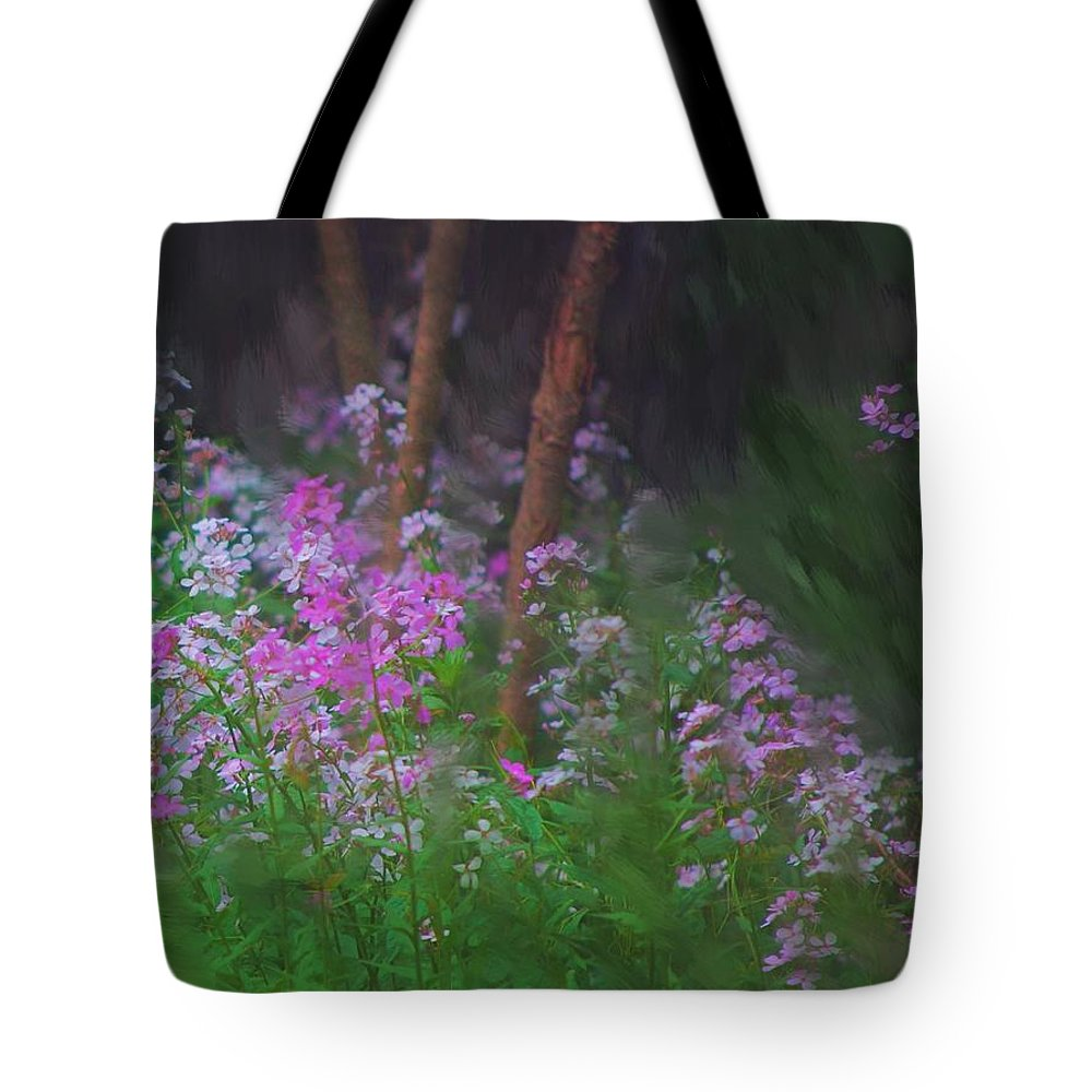 Landscape Tote Bag featuring the painting Flowers In The Woods by David Lane