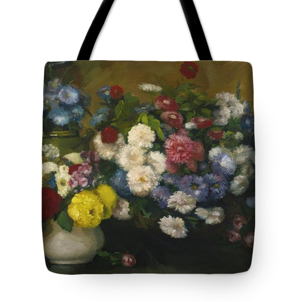 Flowers Tote Bag featuring the painting Flowers In Three Vases 1879 by DuboisPillet Albert