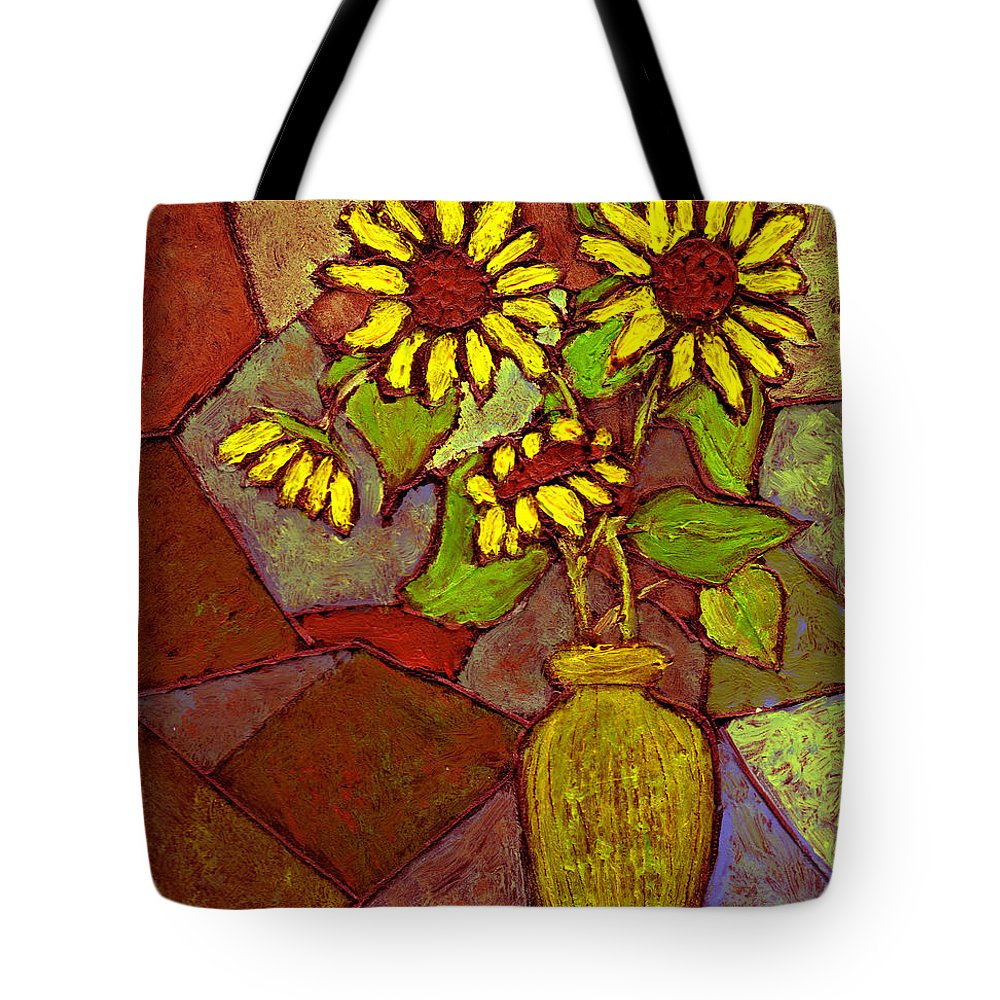 Sunflowers Tote Bag featuring the painting Flowers In Vase Altered by Wayne Potrafka
