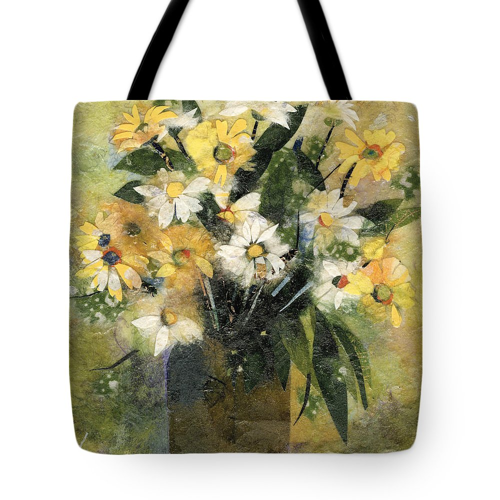 Limited Edition Prints Tote Bag featuring the painting Flowers in white and yellow by Nira Schwartz