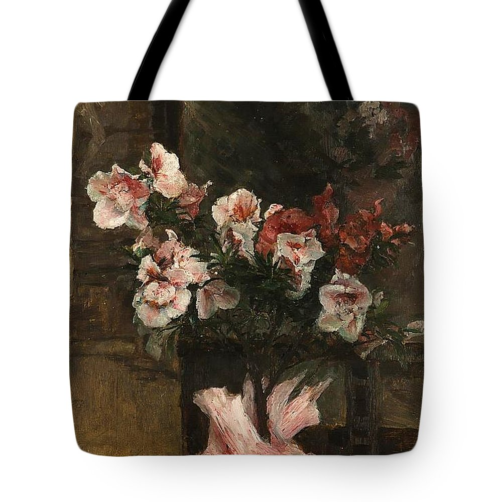 Lebeda Otakar (1877 - 1901) Flowers Tote Bag featuring the painting Flowers by MotionAge Designs