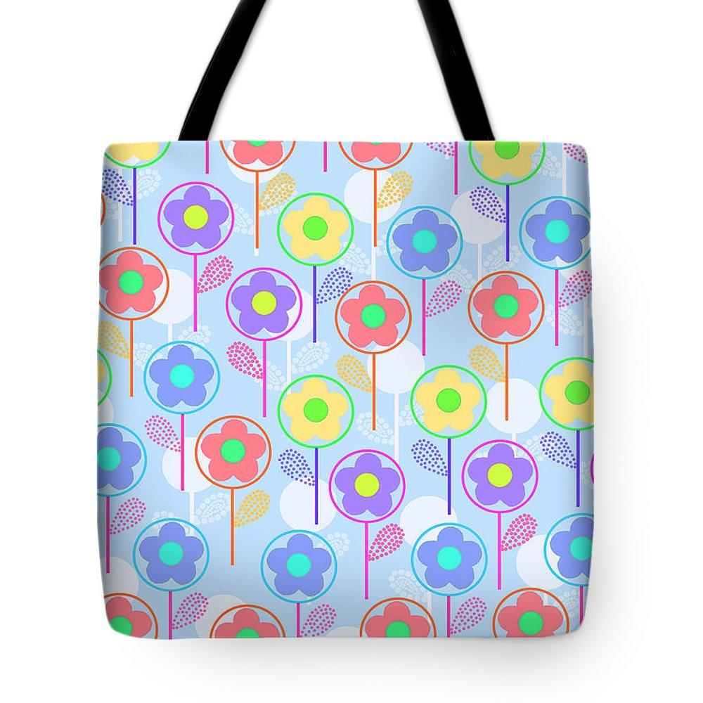 Digital Tote Bag featuring the digital art Flowers by Louisa Knight