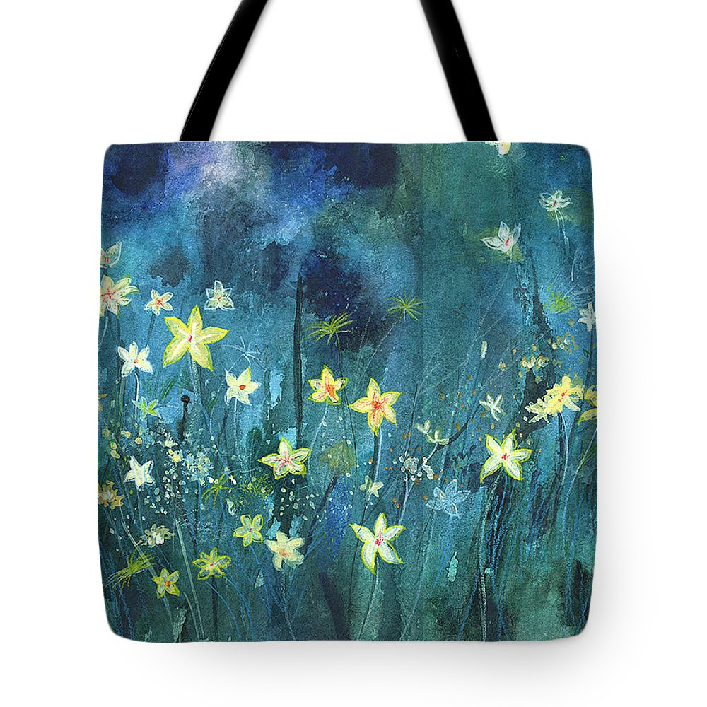 Landscape Tote Bag featuring the painting Flowers N Breeze by Anil Nene