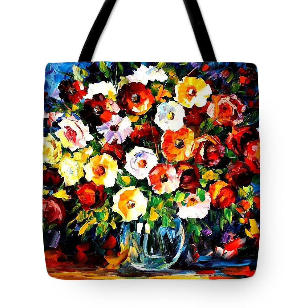 Afremov Tote Bag featuring the painting Flowers Of Love by Leonid Afremov