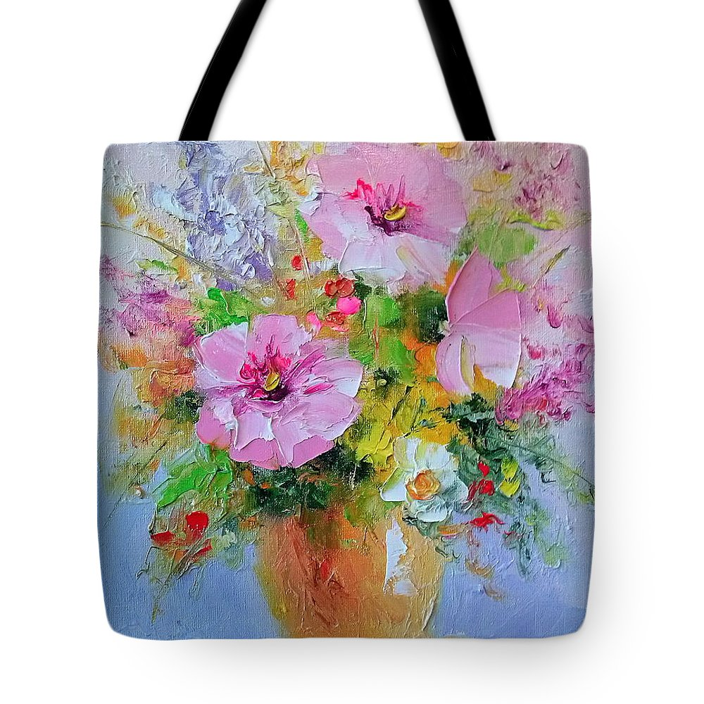 Flowers Tote Bag featuring the painting Flowers by Olha Darchuk