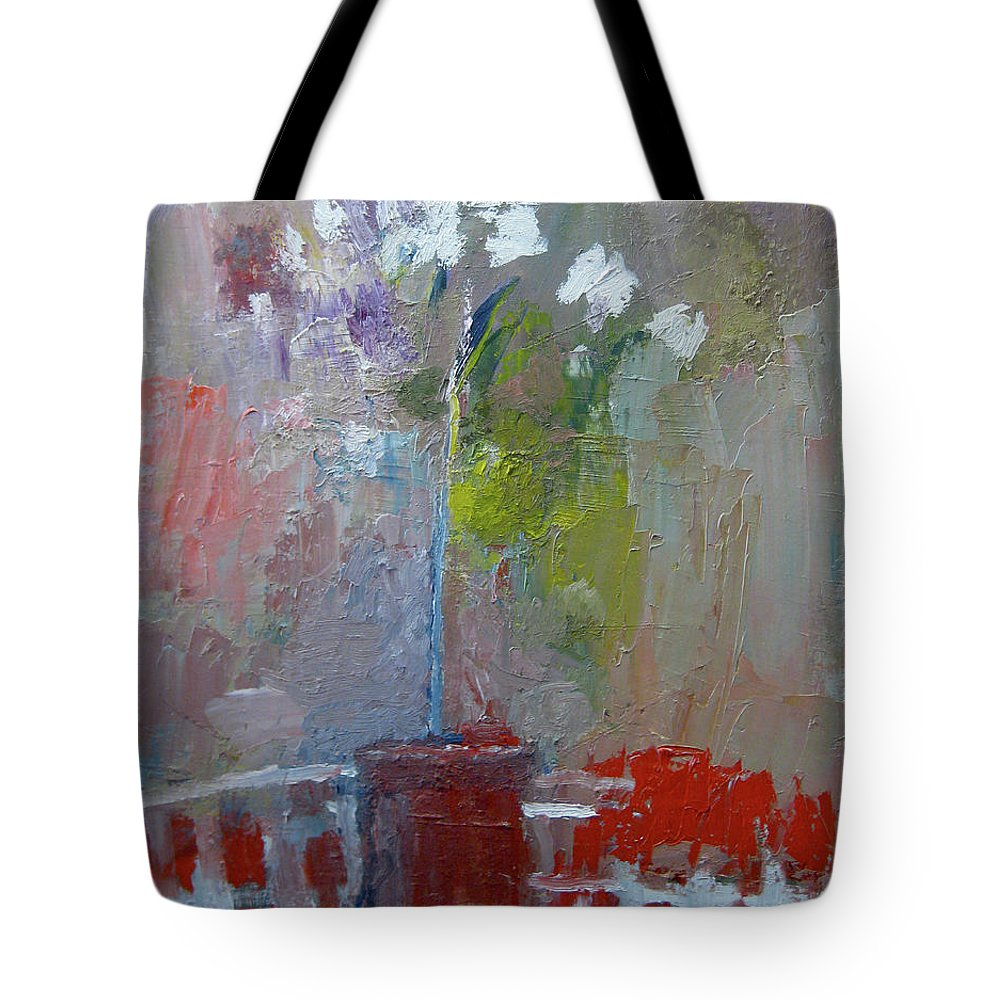 Still Life Tote Bag featuring the painting Flowers On A Table by James Gallagher