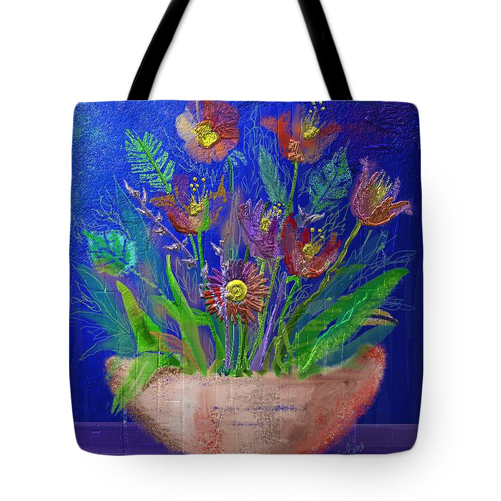 Flower Tote Bag featuring the digital art Flowers On Blue by Arline Wagner