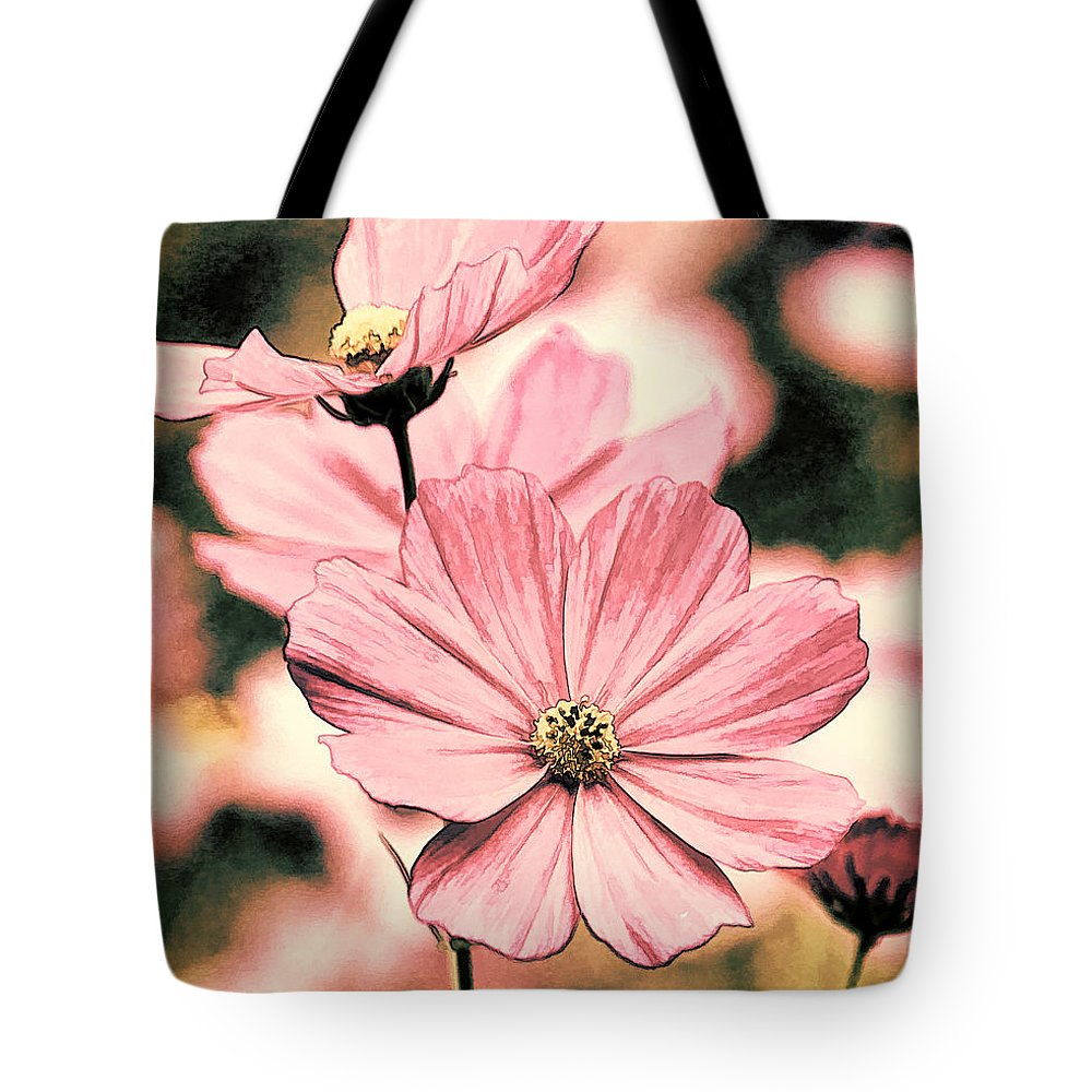 Cosmos Tote Bag featuring the photograph Flowers - Retro Cosmos by HH Photography of Florida