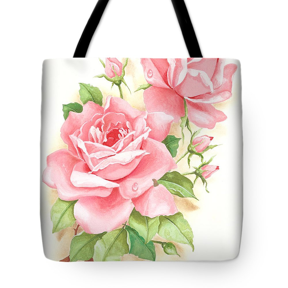 Flowers Tote Bag featuring the painting Roses by Laura Greco