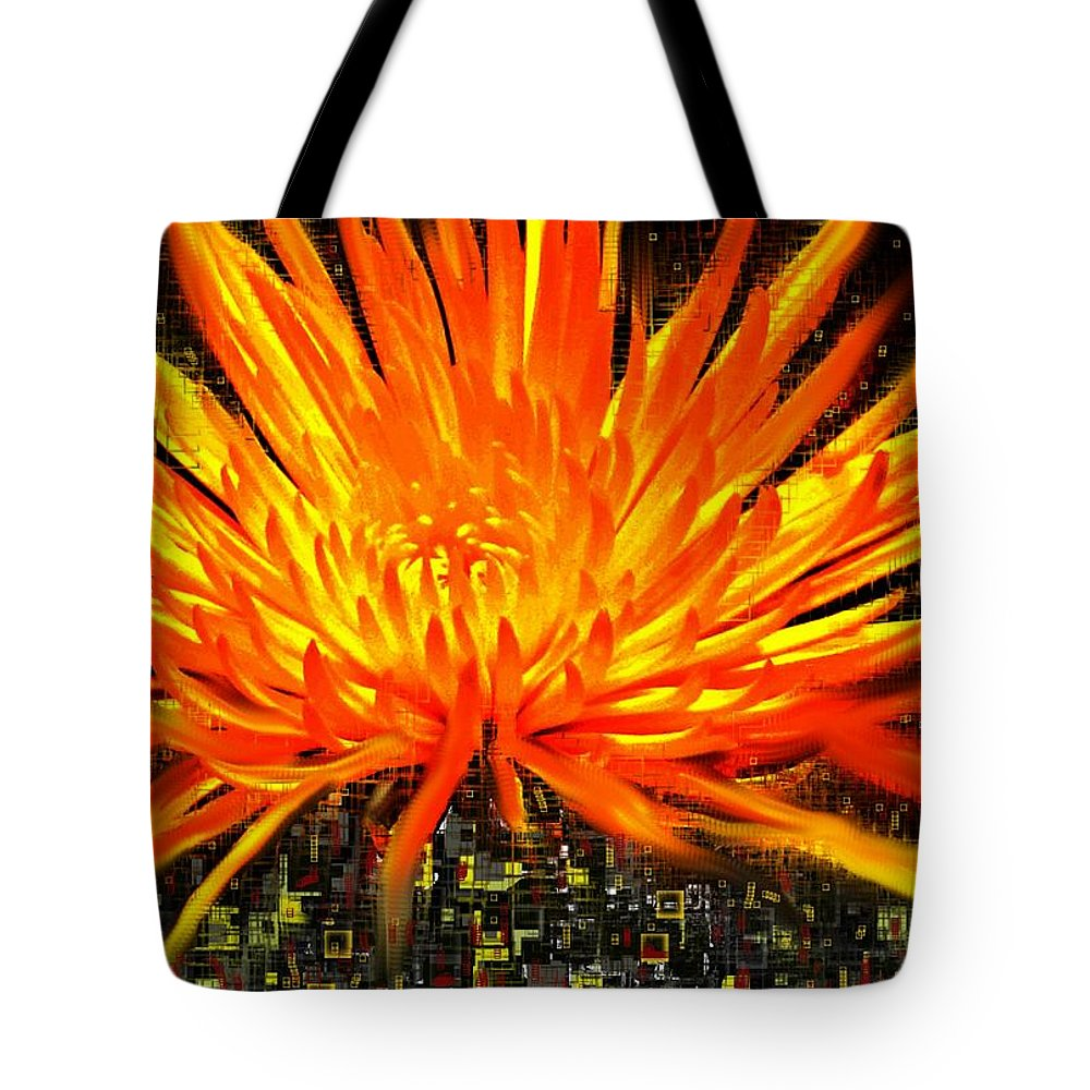 Abstract Tote Bag featuring the digital art Flowersquared by Ian MacDonald