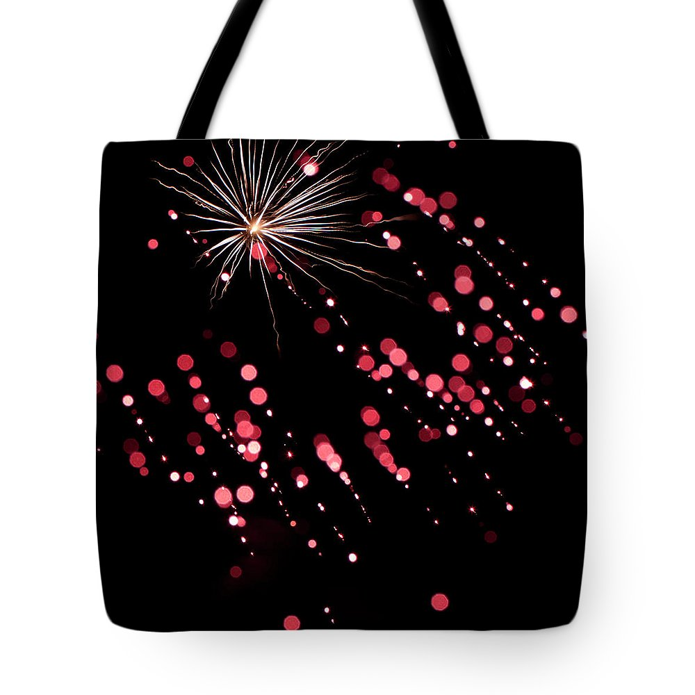 Fireworks Tote Bag featuring the photograph Flowerworks #28 by Sandy Swanson