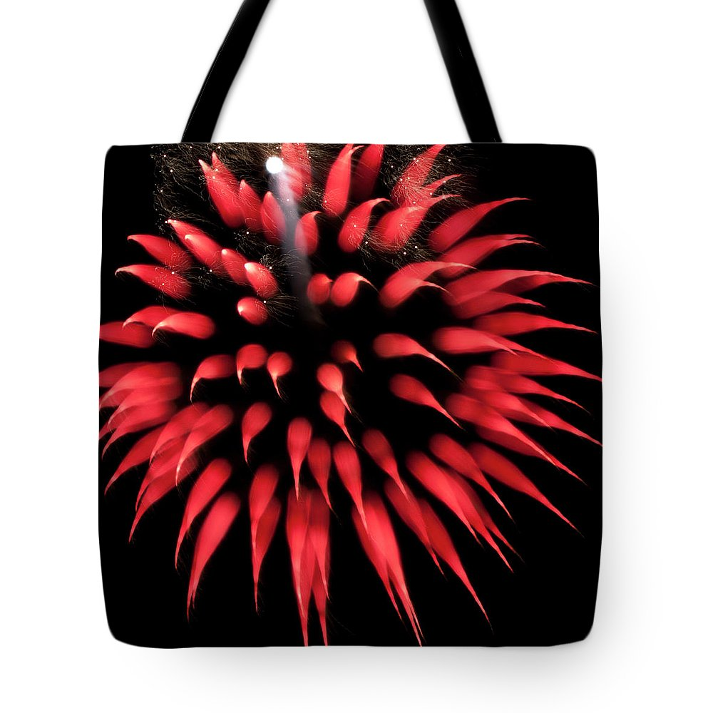 Fireworks Tote Bag featuring the photograph Flowerworks #31 by Sandy Swanson