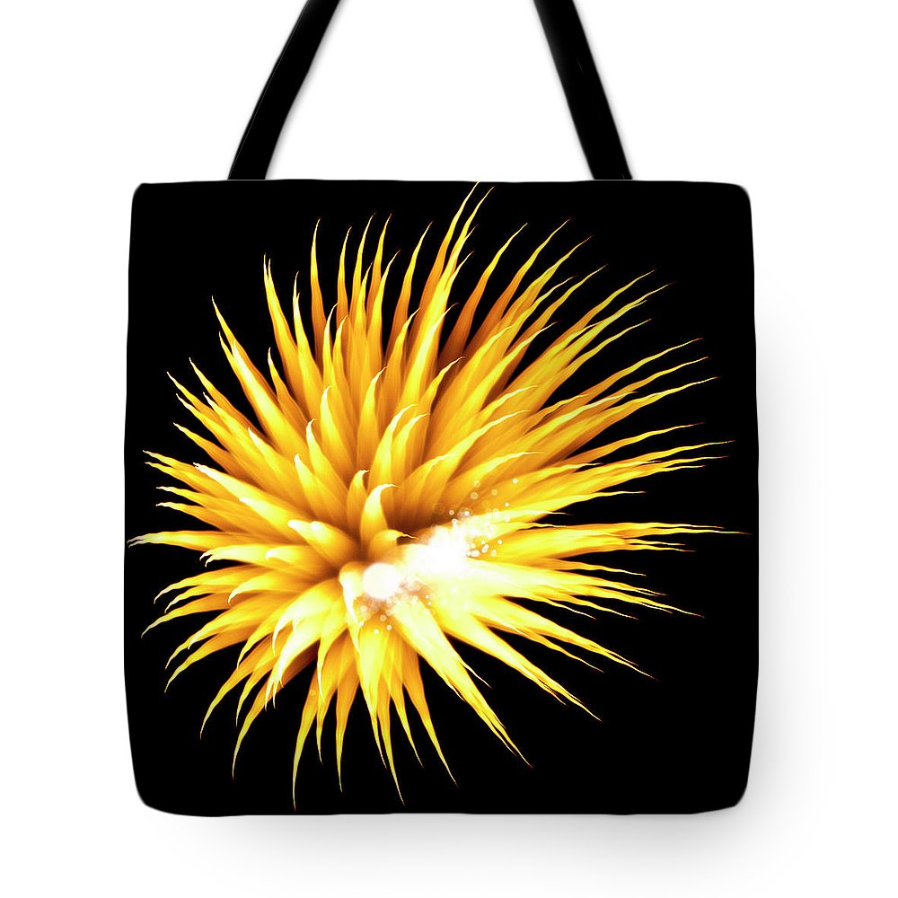 Fireworks Tote Bag featuring the photograph Flowerworks #34 by Sandy Swanson