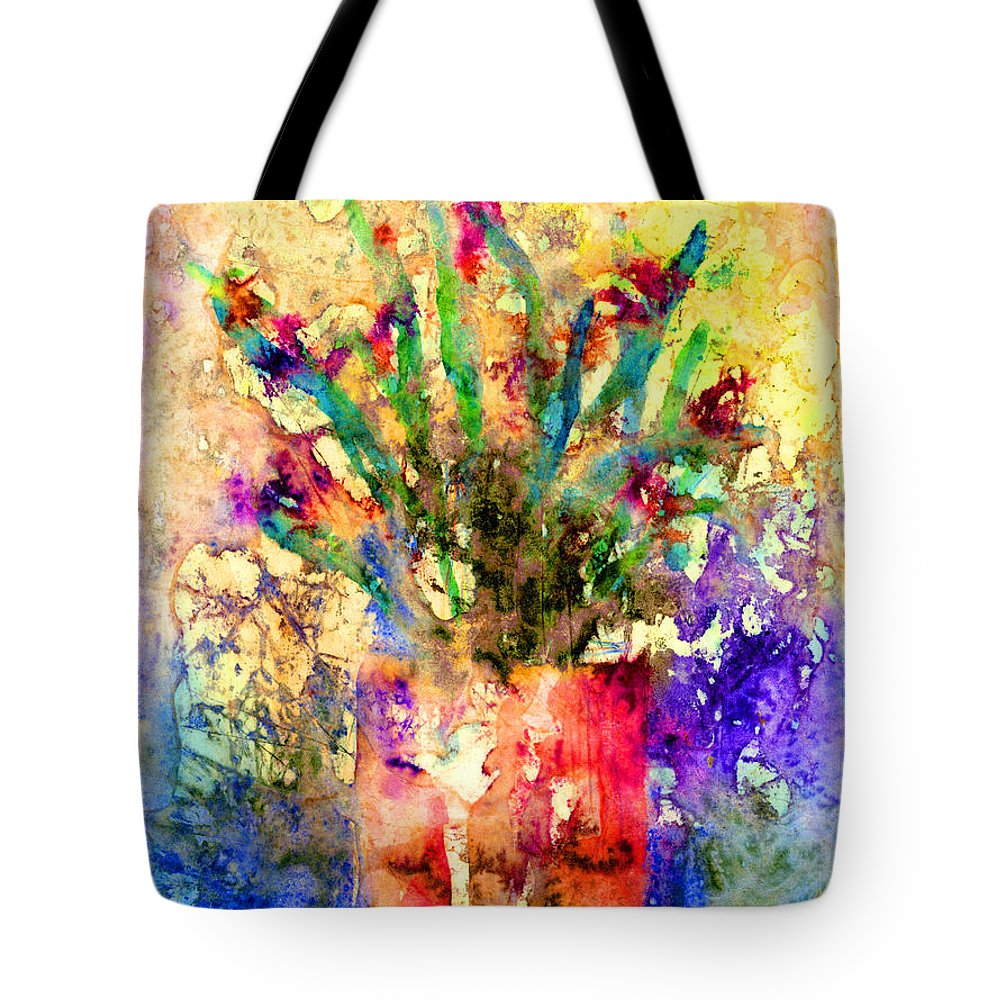 Flower Tote Bag featuring the mixed media Flowery Illusion by Arline Wagner