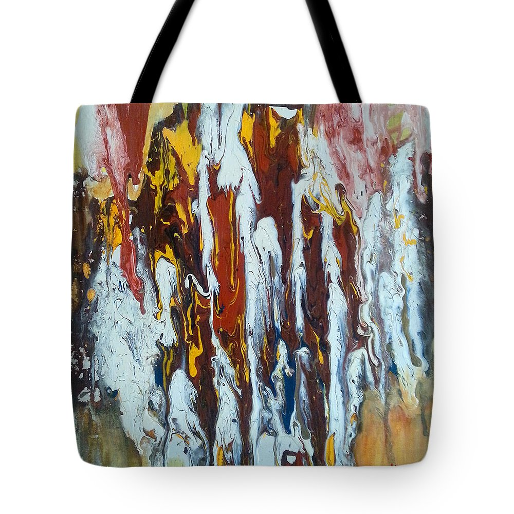 Abstract Art Tote Bag featuring the painting Flowing Colors by Florentina Maria Popescu