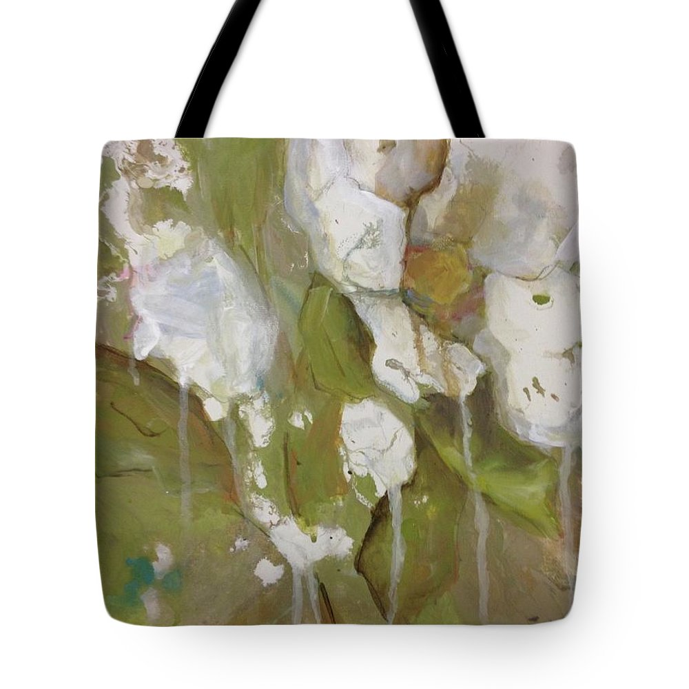 Floral Tote Bag featuring the painting Flowing Rose by Kathy Brusnighan