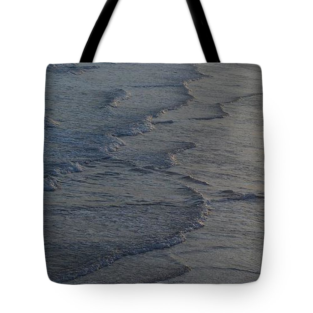 Seascape Near Sunset At Gloucester Tote Bag featuring the photograph Flowing Waves by John Taylor