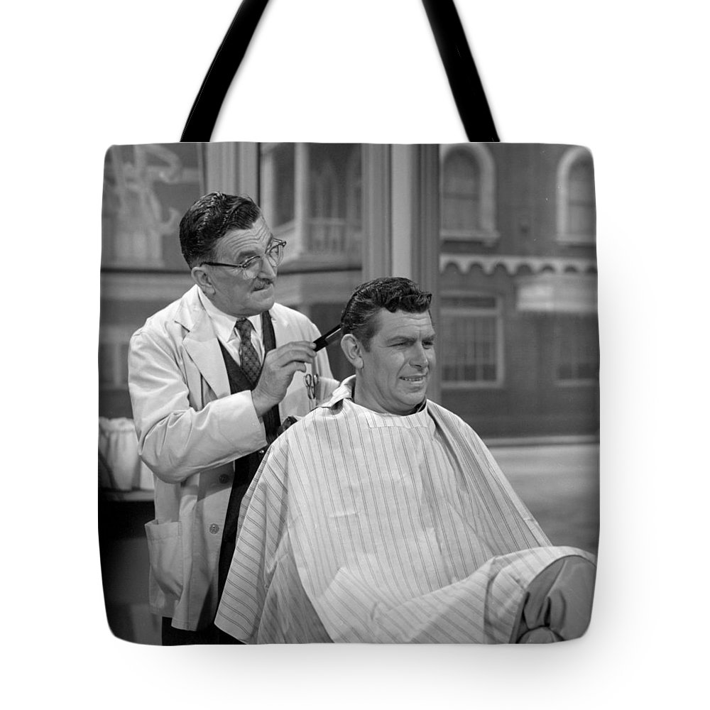 Hollywood Stars Celebrity Tote Bag featuring the photograph Floyds Barbar Shop Andy Griffith Show by Peter Nowell