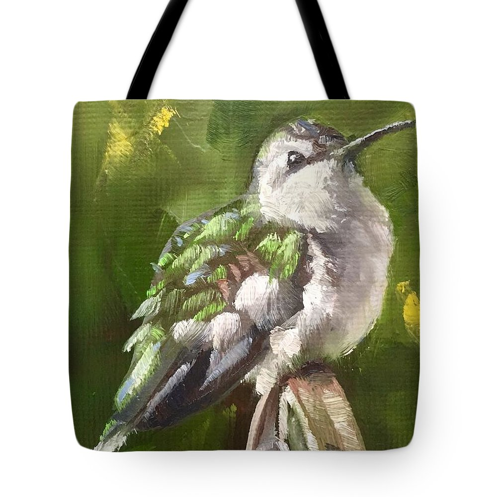 Hummingbird Tote Bag featuring the painting Fluffed Up by Gary Bruton