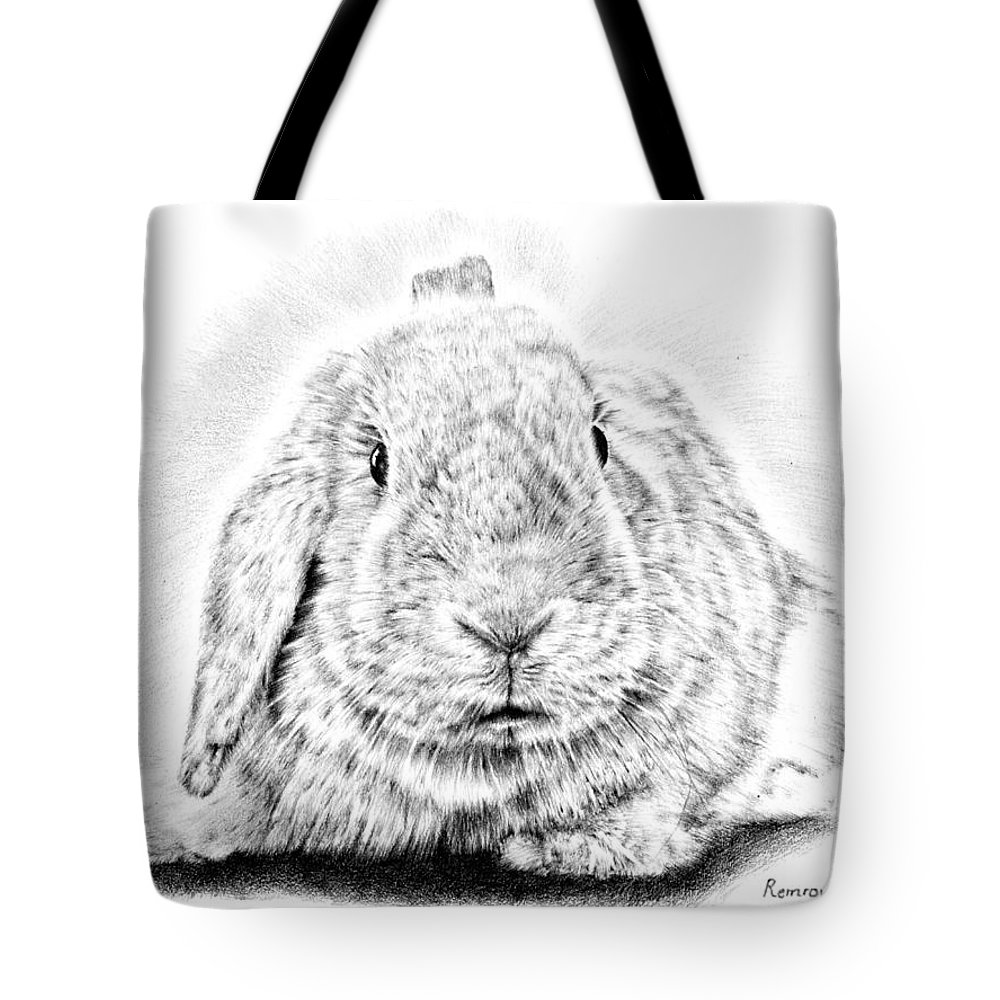 Pencil Drawing Tote Bag featuring the drawing Fluffy Bunny by Remrov