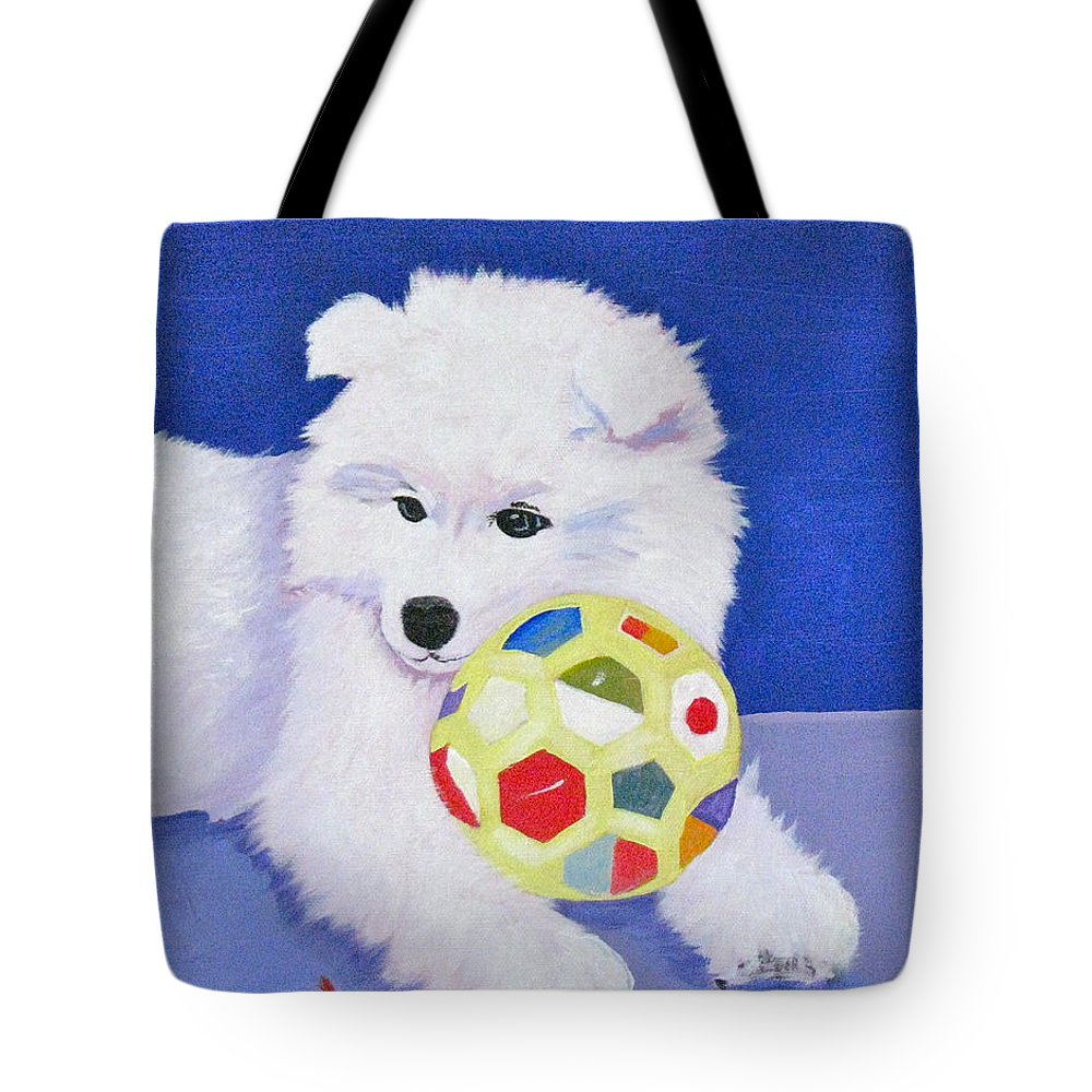 Samoyed Tote Bag featuring the painting Fluffy's Portrait by Phyllis Kaltenbach