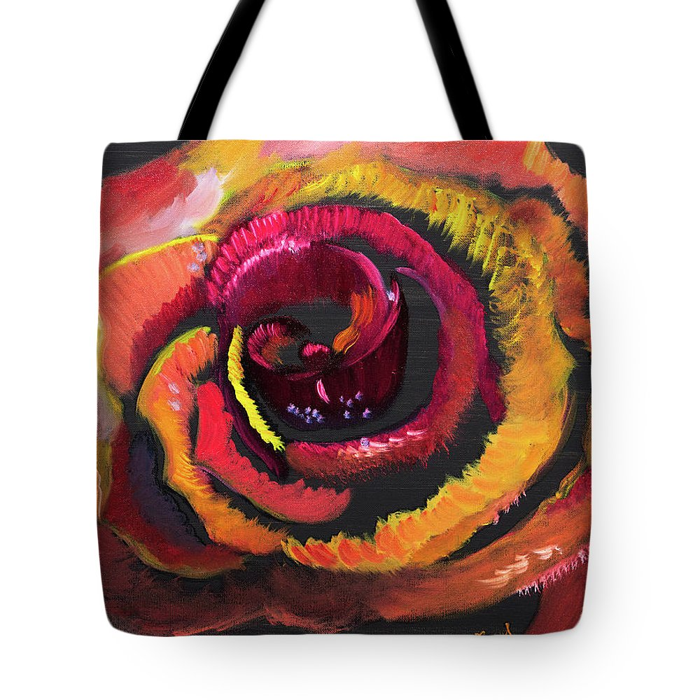 Fluorescent Rose Tote Bag featuring the painting Fluorescent Rose by Meryl Goudey