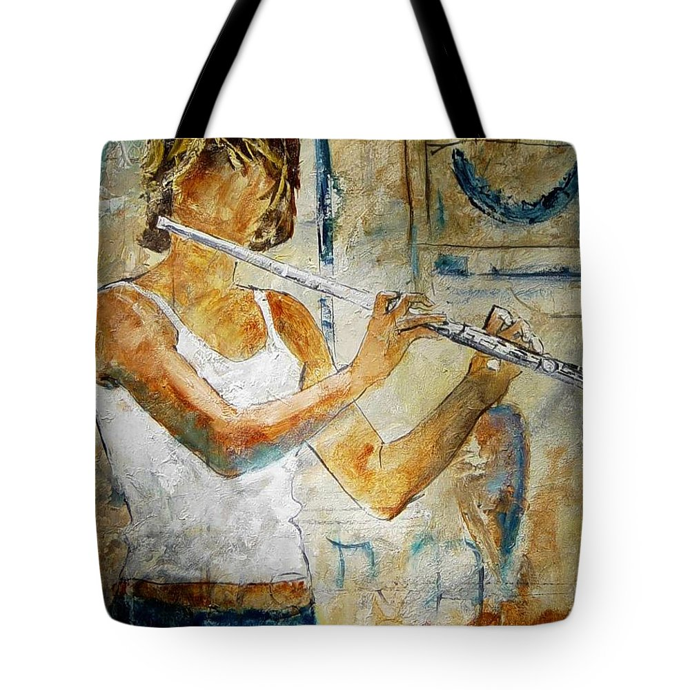 Music Tote Bag featuring the painting Flutist by Pol Ledent