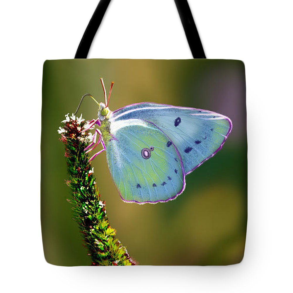 Butterfly Tote Bag featuring the digital art Flutter By by Ellen Dawson