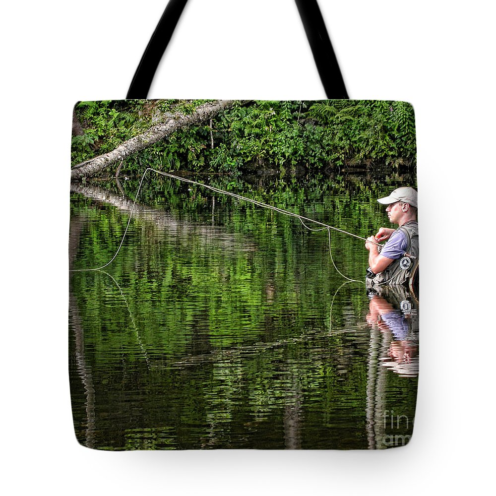 Fly Fisherman Tote Bag featuring the photograph Fly Fisherman by Edward Sobuta