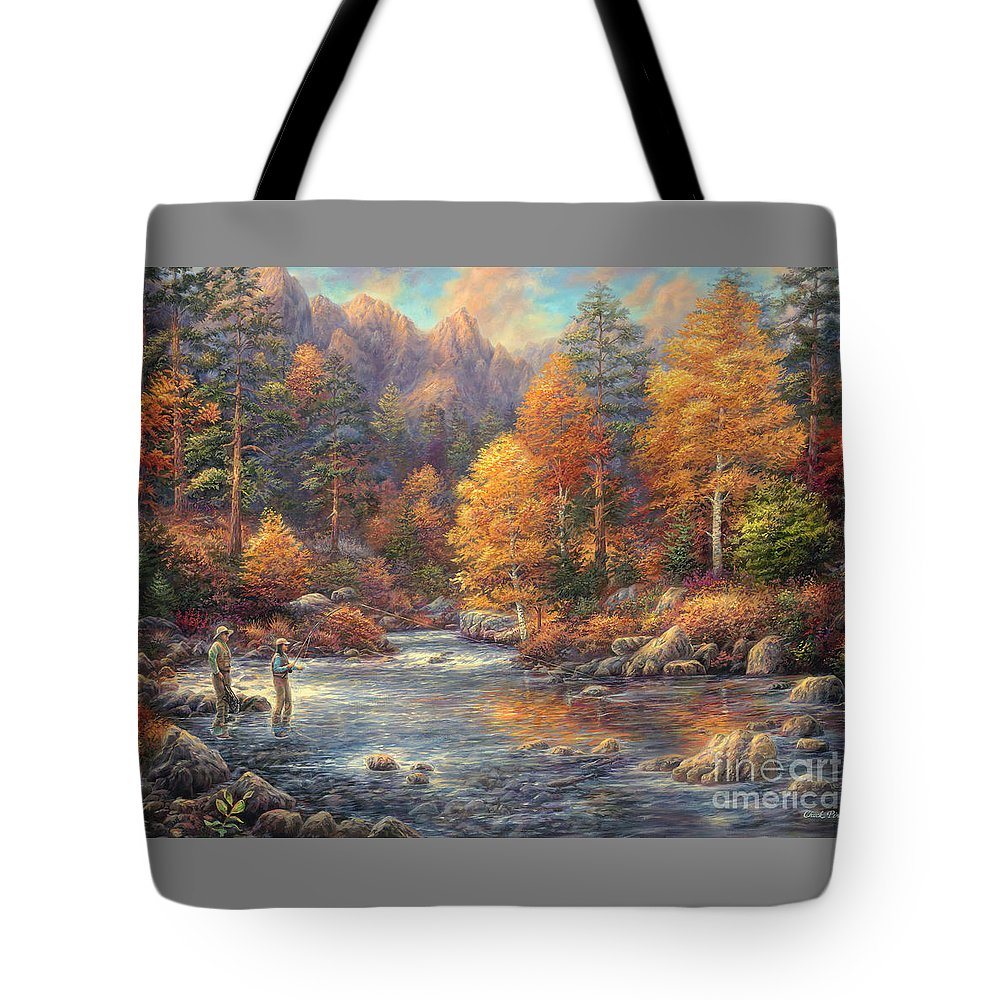Fly Fishing Tote Bag featuring the painting Fly Fishing Legacy by Chuck Pinson